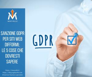 Sanzioni Gdpr per siti web difformi