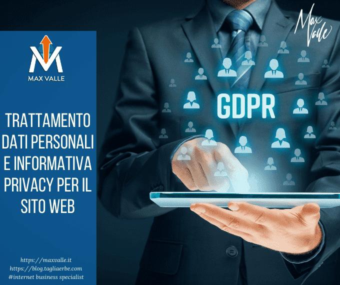 Trattamento dati personali e informativa privacy per il sito web